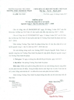 Thông báo về việc thu nhận hồ sơ xét tuyển nguyên vọng 2 - Lớp 10