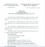 THÔNG BÁO ĐĂNG KÝ NHẬP HỌC DÀNH CHO HỌC SINH TRÚNG TUYỂN LỚP 10